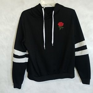 Sweaters - Long Sleeve Red Rose Sweater with Stripes